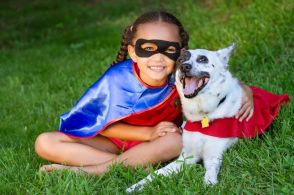 Girl and Dog Super Heros